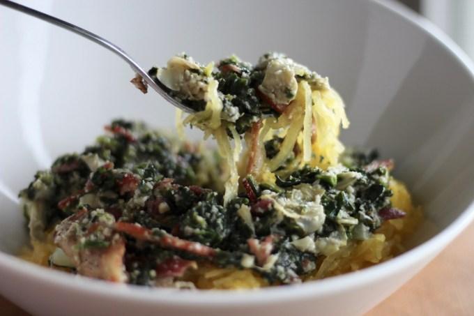 Top 10 Paleo Recipes of 2016 - Spinach Artichoke and Bacon Spaghetti Squash | fedandfulfilled.com
