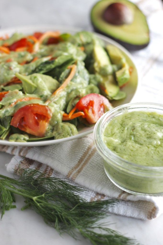 Dairy-Free Avocado Ranch Dressing - an easy, creamy ranch dressing made with avocado, coconut cream, and fresh herbs! | fedandfulfilled.com
