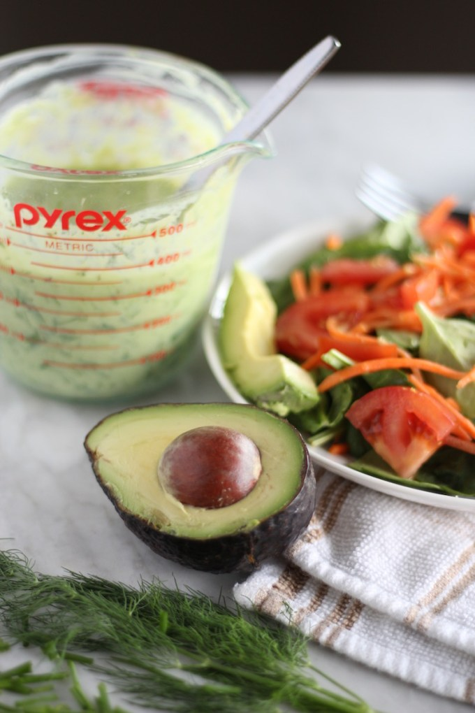 Dairy-Free Avocado Ranch Dressing - a creamy, flavorful vegan and paleo dressing perfect for salads and burgers! | fedandfulfilled.com