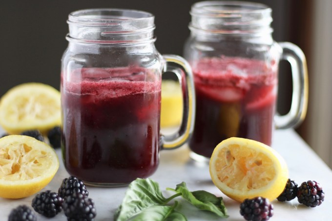 Blackberry Lemon Basil Fizz - a perfect alternative to juice and soda! This fruit and honey-sweetened beverage is incredible! | fedandfulfilled.com