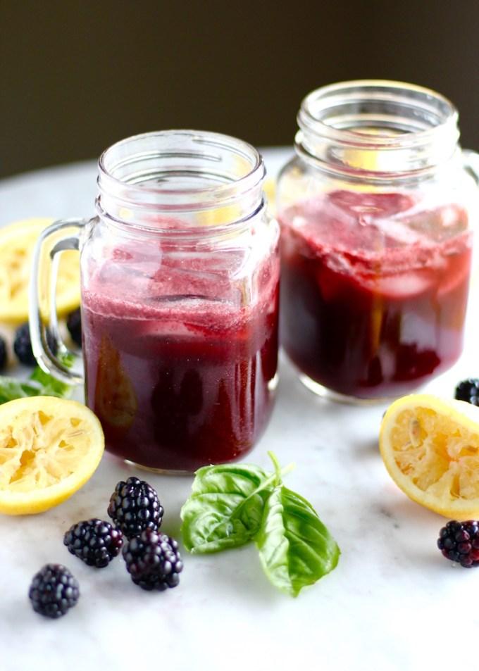 Blackberry Lemon Basil Fizz - a refreshing, summer beverage made with sparkling water, blackberries, lemons, basil, and honey! | fedandfulfilled.com