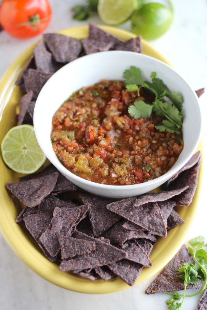 Simple Blender Salsa - a restaurant-style paleo salsa that is fresh, delicious, and made in seconds with an immersion blender! | fedandfulfilled.