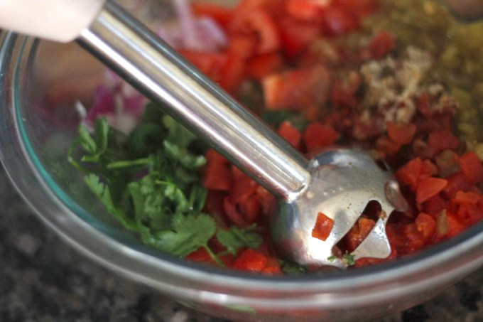 Simple Blender Salsa - a delicious, paleo salsa made easy using an immersion hand blender! | fedandfulfilled.com