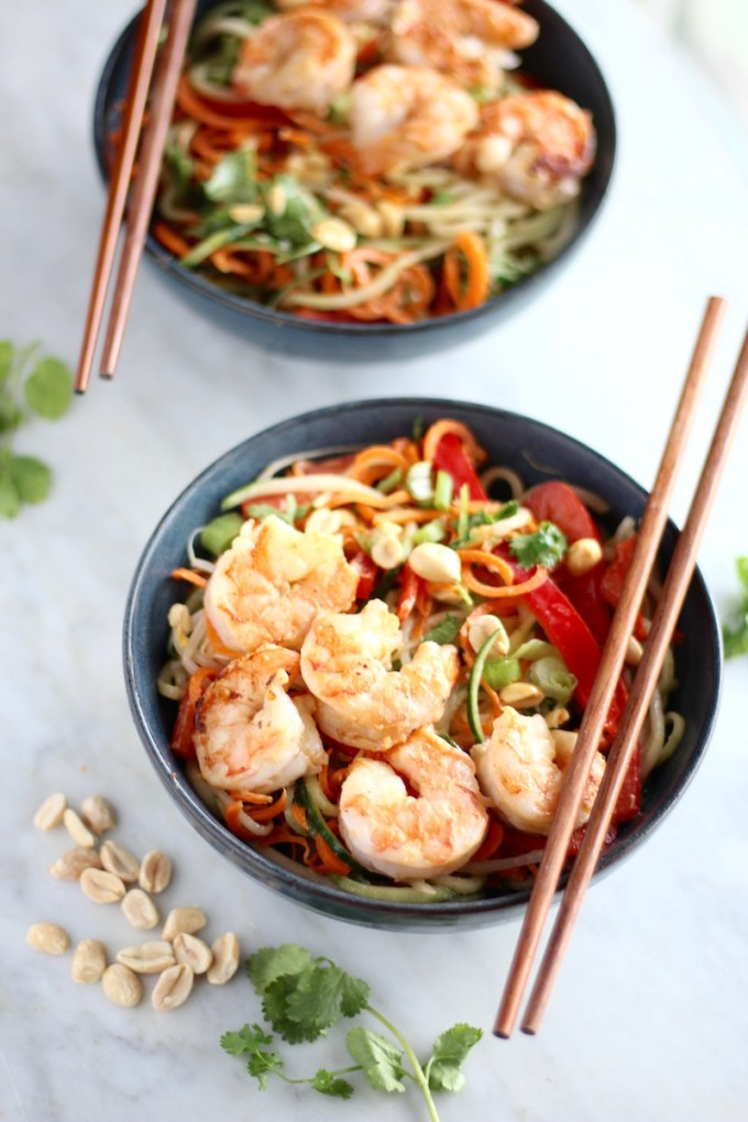 Pad Thai Salad with Grilled Shrimp - a spiralized cucumber and carrot noodle salad with all the flavors of Pad Thai along with succulent grilled shrimp! | fedandfulfilled.com