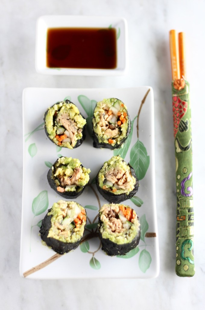Salmon Sushi Rolls - an AIP, Paleo sushi roll filled with wild-caught salmon, ginger avocado mash, cauliflower rice, and crispy veggies! | fedandfulfilled.com