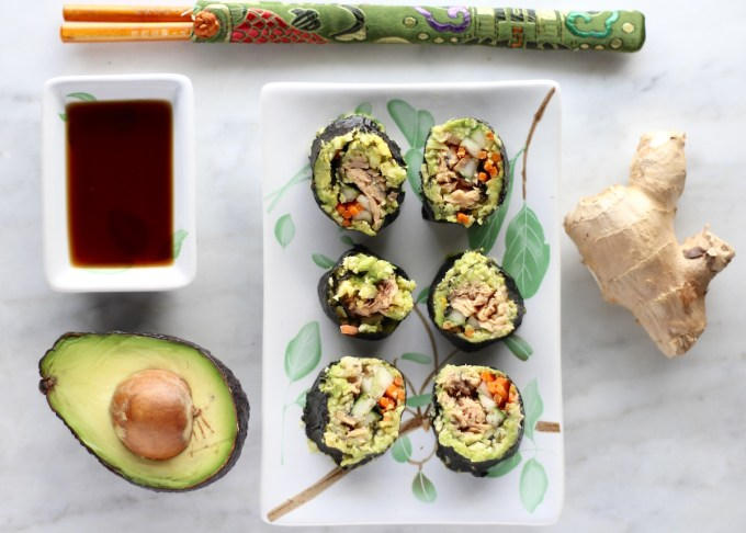 Salmon Sushi Rolls - an AIP and paleo sushi made with cooked wild salmon, crispy veggies, cauliflower rice, and an avocado ginger mash! | fedandfulfilled.com