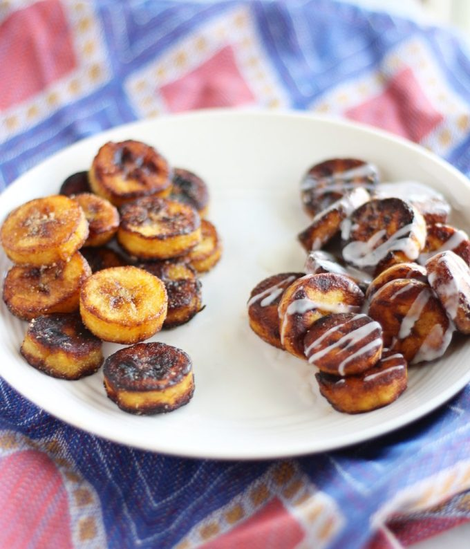 Sweet and Savory Fried Plantains - a super easy snack or side dish where you can choose to go sweet or savory with either cinnamon roll plantains or salt and garlic plantains! | fedandfulfilled.com