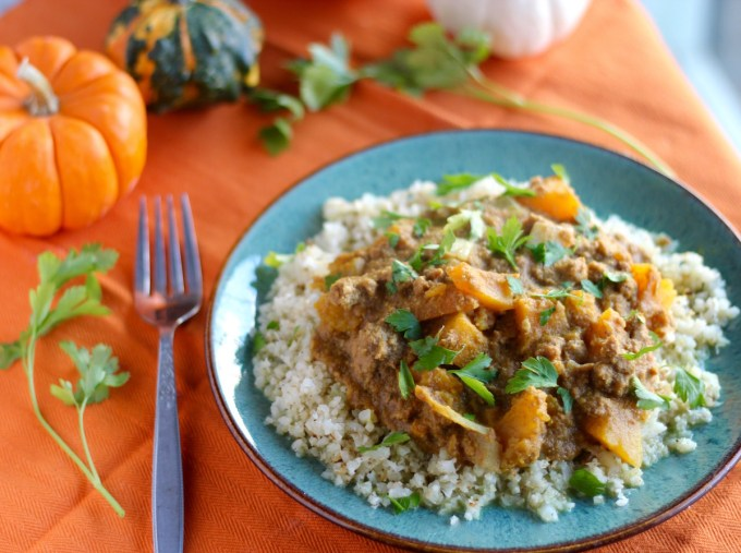 Crockpot Beef Pumpkin Curry (AIP) - a one-pot, slow cooker meal that is warm, comforting, and full of flavor from pumpkin, squash, turmeric, ginger, and cinnamon! | fedandfulfilled.com