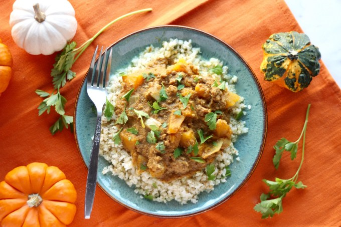 "Crockpot Beef Pumpkin Curry (AIP) - an AIP, Paleo ""curry"" that is colorful and flavorful from turmeric, ginger, cinnamon, and butternut squash! 