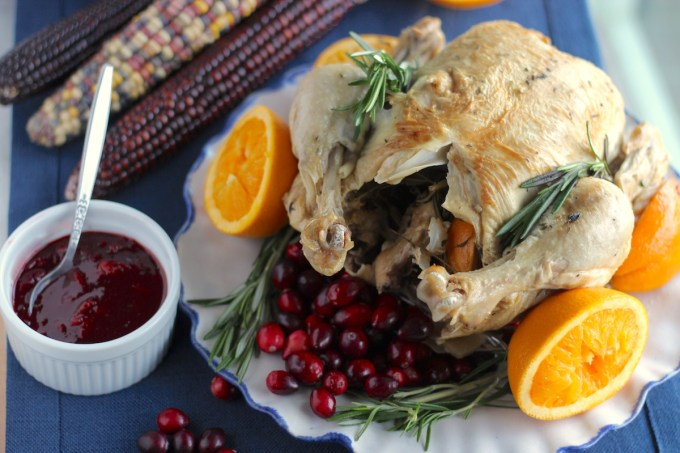 Instant Pot Whole Chicken with Cranberry Orange Sauce (AIP) - a healthy, elegant Paleo chicken dinner that has all the flavors of slow-roasted chicken but cooks in 40 minutes, thanks to the Instant Pot! | fedandfulfilled.com