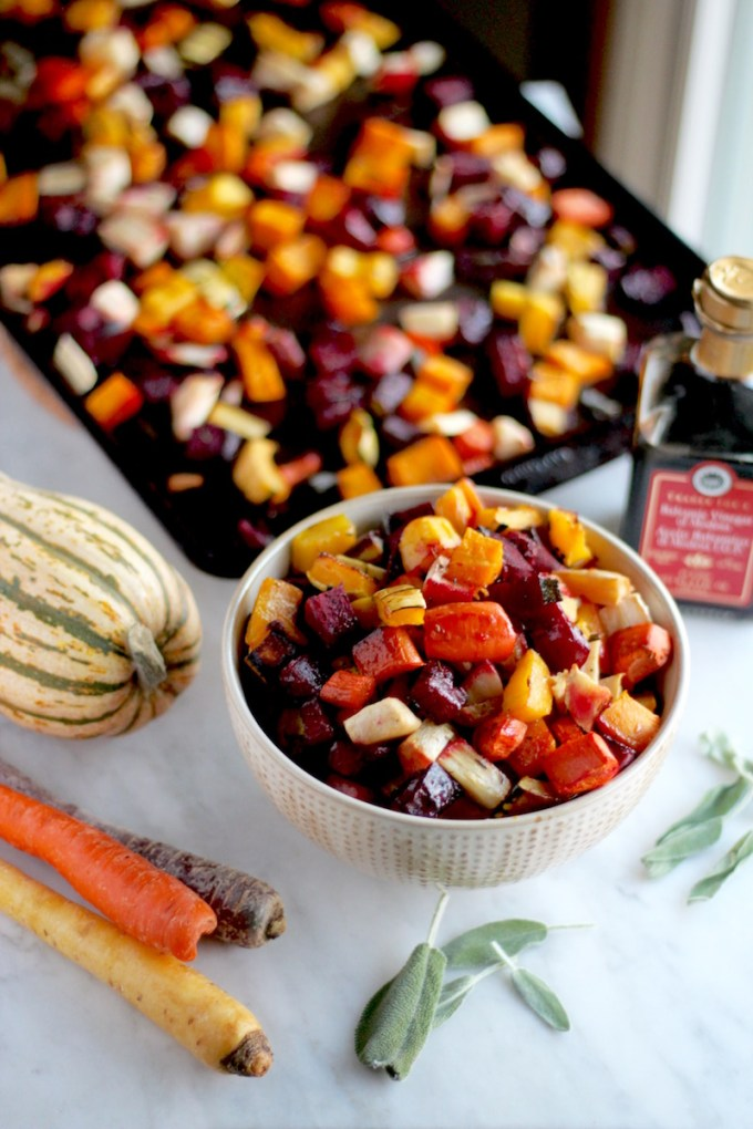 Roasted Rainbow Root Veggies - a colorful, flavorful mingling of roasted vegetables topped with fresh sage and balsamic! | fedandfulfilled.com
