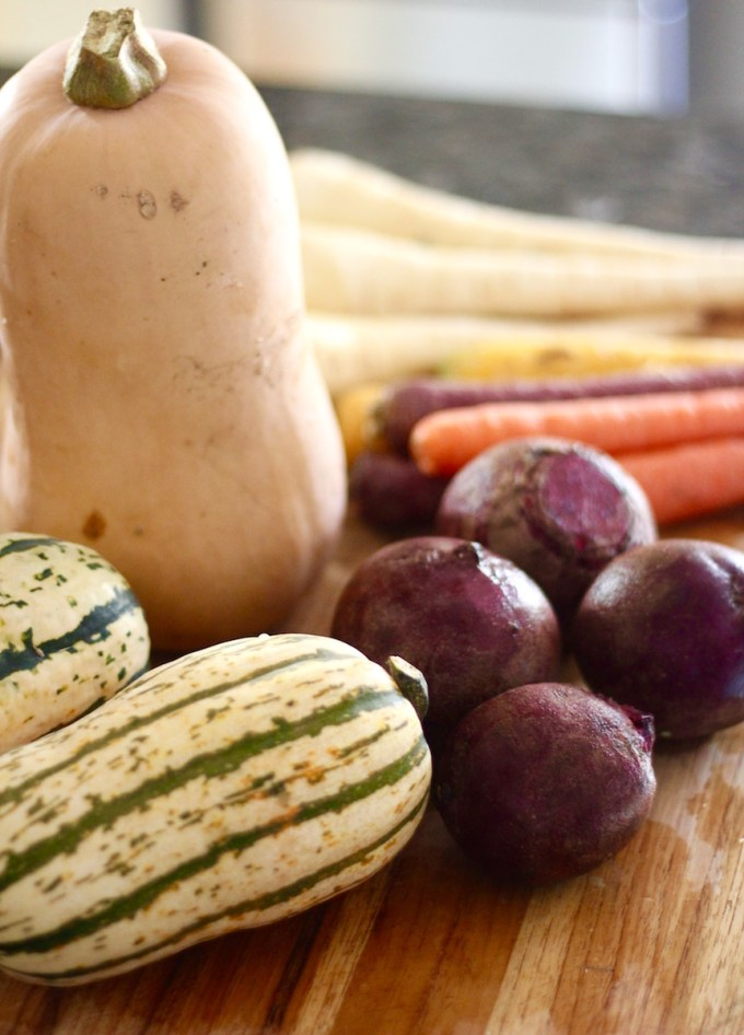 Roasted Rainbow Root Veggies - a delicious, healthy Paleo side dish full of Fall vegetables and squash! | fedandfulfilled.com