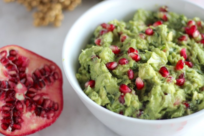 AIP Pomegranate Guacamole - a simple, easy, colorful appetizer that is perfect for holiday parties! This is delicious! | fedandfulfilled.com
