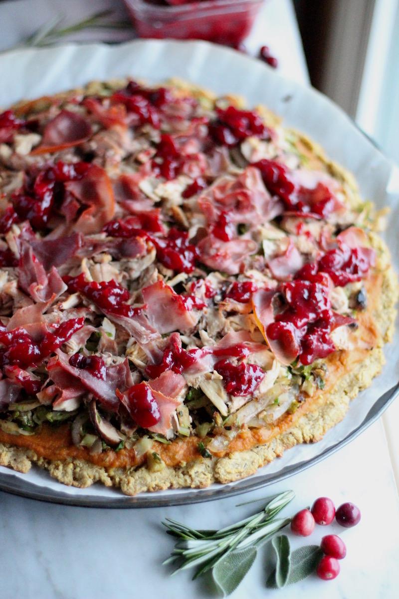 Turkey Cranberry Prosciutto Pizza (AIP, Paleo)