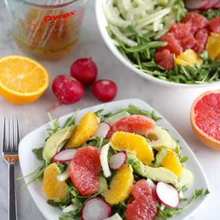 Citrus Fennel Salad with Grapefruit Vinaigrette (AIP) - a colorful, flavorful, and healthy salad featuring fresh citrus, fennel, radish, avocado, and arugula! | fedandfulfilled.com