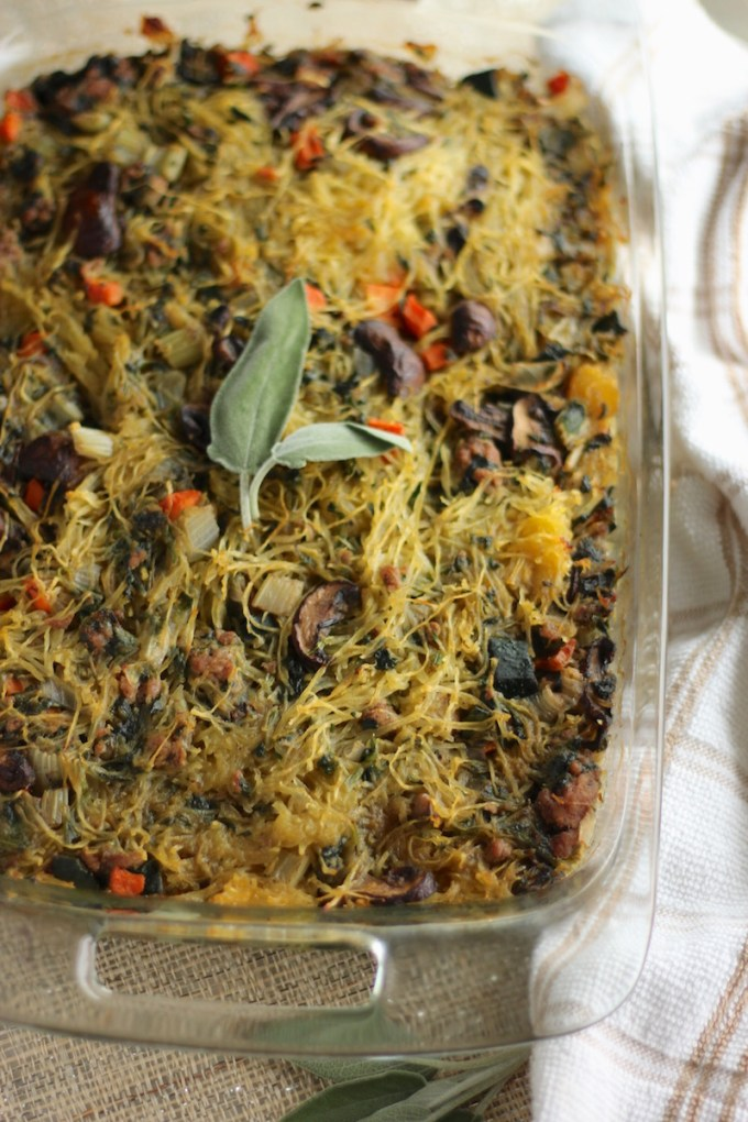 Egg-Free Breakfast Casserole (AIP, Paleo) - This meat and veggie-packed casserole is so flavorful and delicious that you won't even miss the eggs! | fedandfulfilled.com