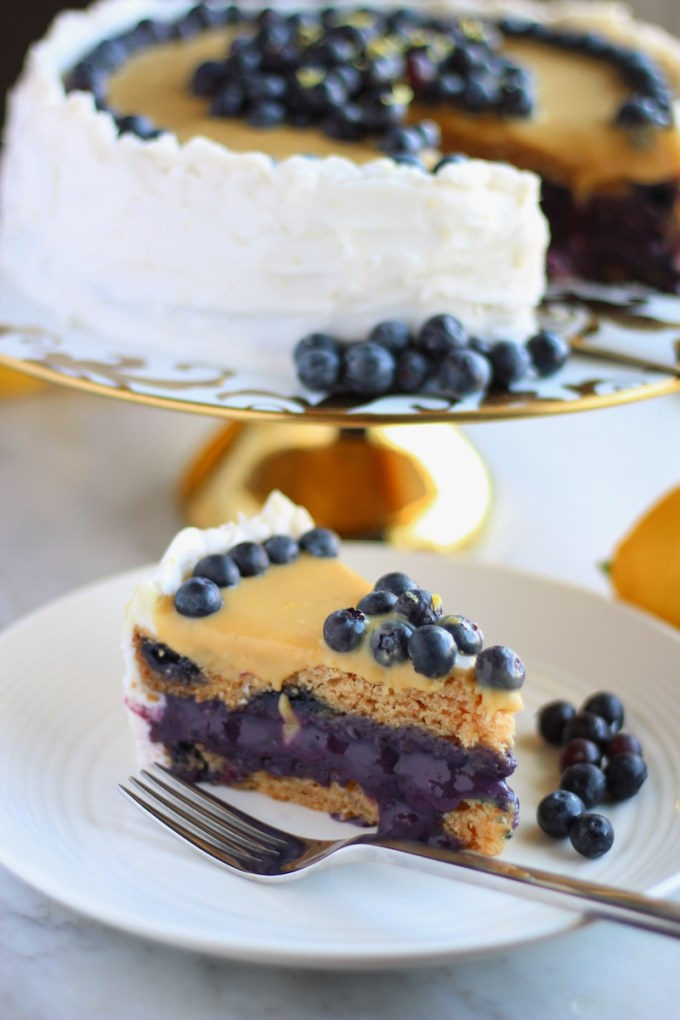 Paleo Lemon Blueberry Layer Cake (AIP) - this grain-free, dairy-free, nut-free, and egg-free cake is absolutely out of this world! | fedandfulfilled.com