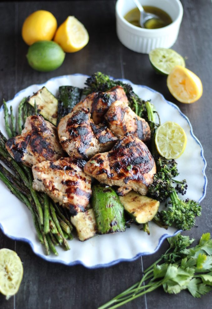 Grilled Citrus Herb Chicken and Veggies (AIP) - a healthy summer Paleo meal complete with tender chicken, colorful veggies, and a citrus herb dressing! | fedandfulfilled.com