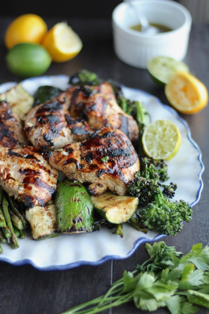 Grilled Citrus Herb Chicken and Veggies (AIP) - an easy, healthy Paleo main dish featuring grilled chicken, asparagus, zucchini, and broccolini! SO good! | fedandfulfilled.com