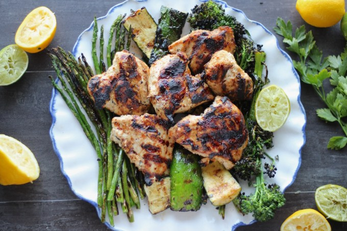Grilled Citrus Herb Chicken and Veggies (AIP) - smoky grilled chicken is smothered with a fresh citrus herb marinade and grilled with healthy green veggies for a stellar summer meal! | fedandfulfilled.com