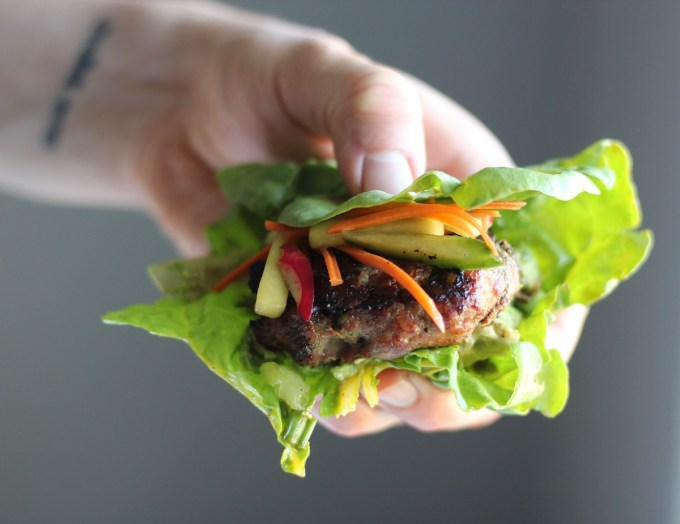 Paleo Pork Banh Mi Burgers (AIP) - these Vietnamese burgers are bursting with flavor thanks to juicy grilled pork, sweet and tangy nuoc cham sauce, and crunchy pickled veggies! | fedandfulfilled.com