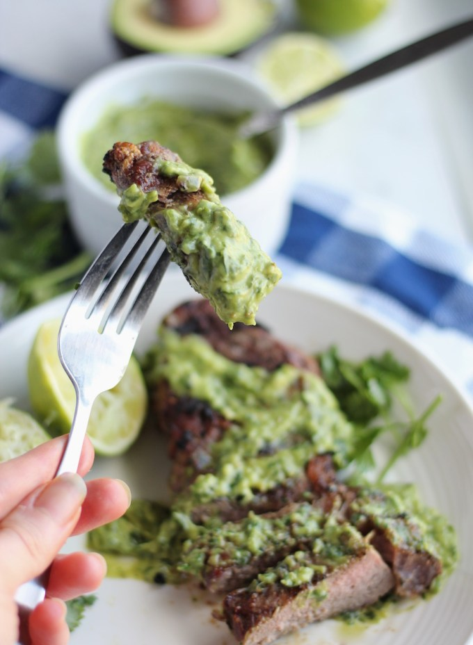 Grilled Steak with Creamy Chimichurri Sauce (AIP, Paleo) - a flavorful take on grilled steak, thanks to this easy Argentinian sauce! | fedandfulfilled.com