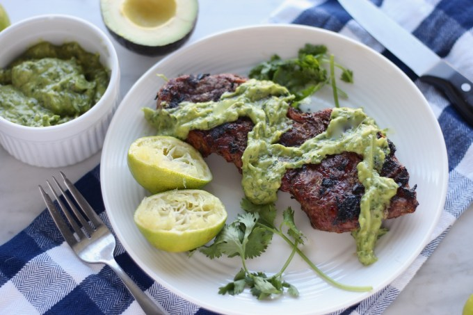 Grilled Steak with Creamy Chimichurri Sauce (AIP, Paleo) - add this main course to your summer grilling menu! Easy and delicious! | fedandfulfilled.com