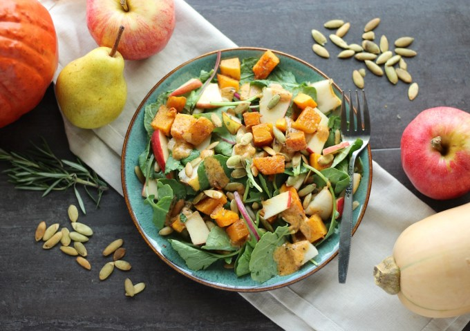 Fall Harvest Salad with Creamy Pumpkin Dressing (AIP, Paleo) - a healthy, delicious seasonal salad featuring Fall's finest flavors! | fedandfulfilled.com