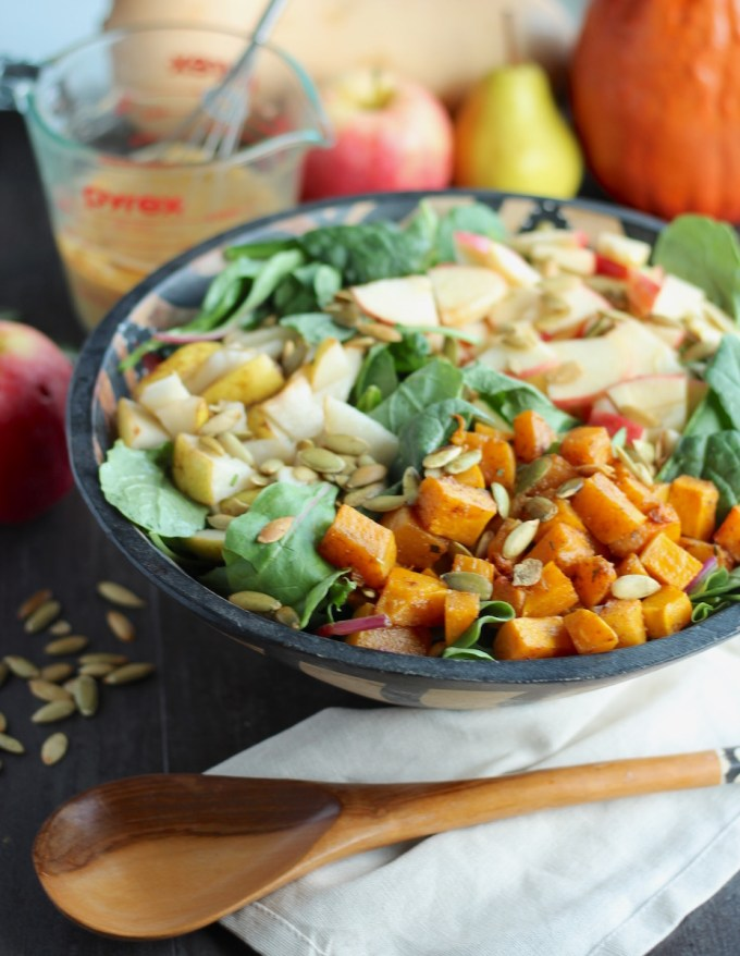Fall Harvest Salad with Creamy Pumpkin Dressing (AIP, Paleo) - a crisp, refreshing salad with all the flavors of Fall, from apples to pears to butternut squash! | fedandfulfilled.com