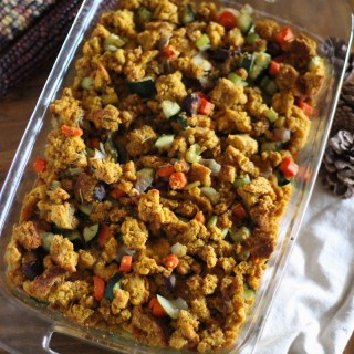 "AIP Thanksgiving Stuffing (Paleo) - a ""cornbread""-like stuffing made with pumpkin biscuits, colorful veggies, and nourishing bone broth! 