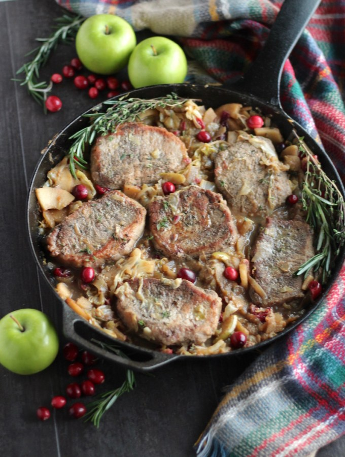 Apple Cranberry Skillet Pork Chops (AIP, Paleo)