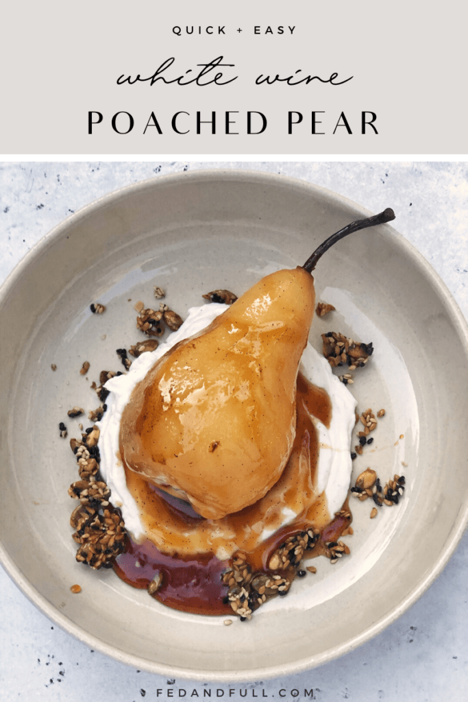 White wine poached pears with yogurt coconut cream and pumpkin sesame seed brittle