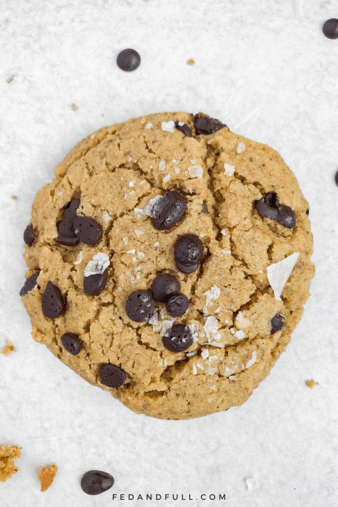 One large Tahini Tigernut Chocolate Chip Cookie