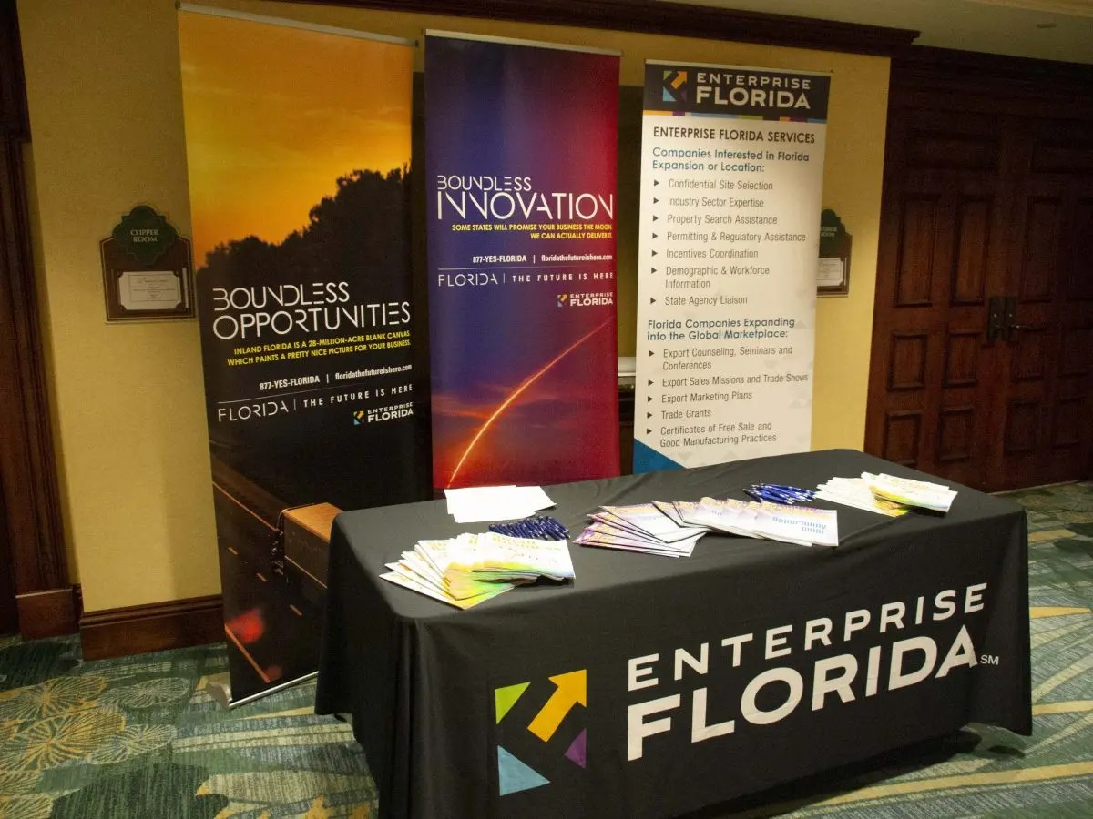 Photo of Enterprise Florida exhibitor booth at FEDC conference.