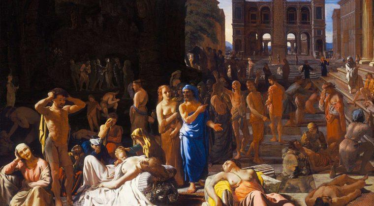 La peste di Atene (1652-1654 ca.) di Michiel Sweerts, che illustra la devastante epidemia che colpì Atene nel 430 a.C., come descritto dallo storico Tucidide