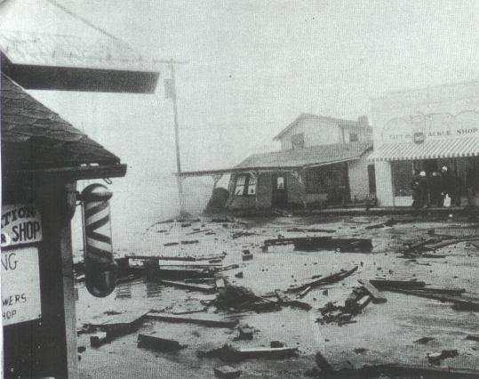 Hurricane Hazel: K Ave looking from the barber shop toward Smitty's and the pier.