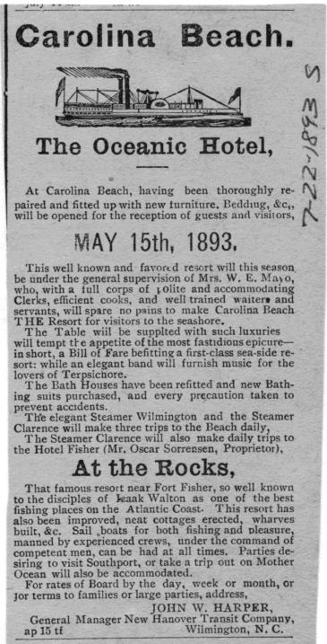 Bill Reaves - Carolina Beach The Oceanic Hotel - Rocks - May 15 1893