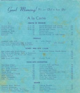 Bame Dining Room Menu 1941
