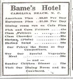 Bame's Hotel Menu