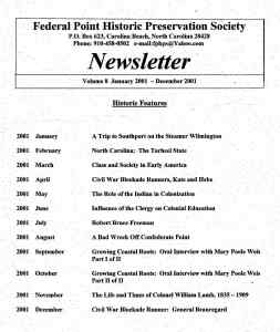 2001 Newsletter Historic Features