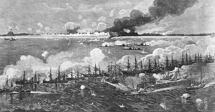 Ships of the North Atlantic Blockading Squadron bombarding Fort Fisher- January 15, 1865