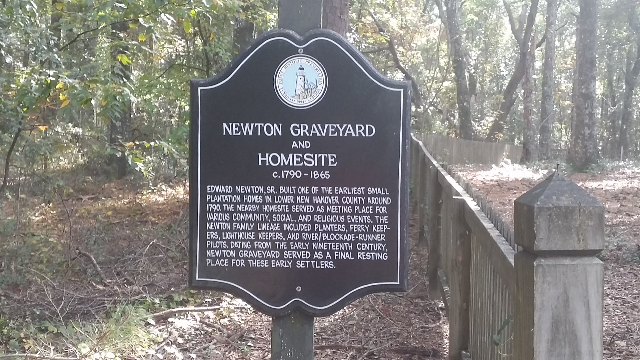 Newton Homesite and Cemetery | Federal Point Historic