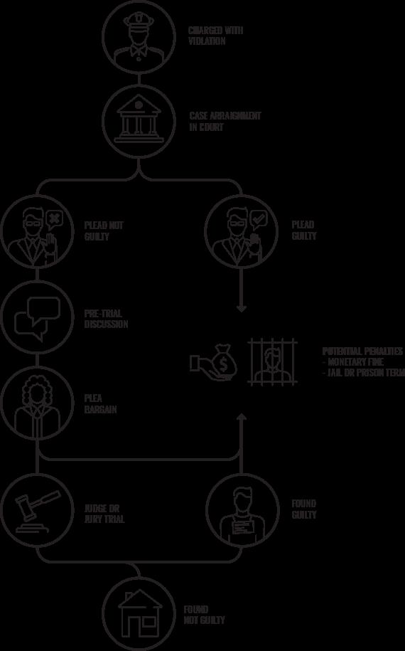 a diagram outlining the criminal defense process