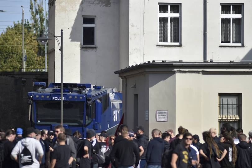 Germany Far Right 49705 - German police for fa-right march in eastern town of Koethen