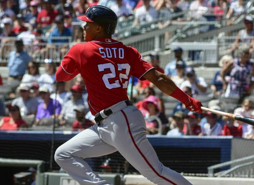 Nationals Braves Baseball 24264 - Soto youngest to steal 3 bases, Nats beat hit Braves 7-1