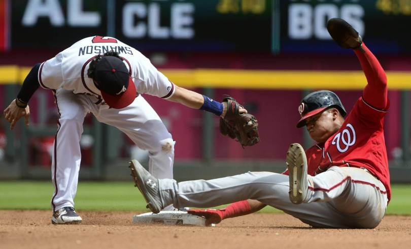 Nationals Braves Baseball 53373 - Soto becomes youngest player to steal 3 bases in a game