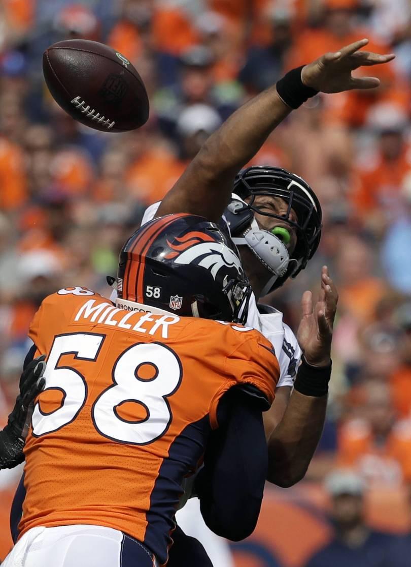 Raiders Broncos Football 69122 - Miller, Mack are 1-2 in AP edge rusher rankings