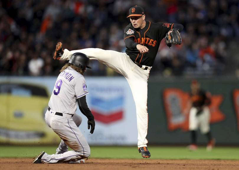 Rockies Giants Baseball 09467 - Bumgarner, Giants' pen knock Rockies out of 1st in division