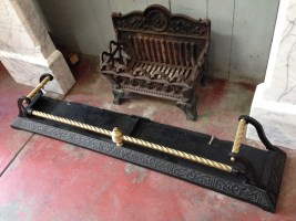 Cast iron and brass fireplace fender/kerb, brass barley twist rods $265 salvage recycled demolition, reproduction restoration, renovation, collectable, secondhand, used, original, old, reclaimed heritage, antique