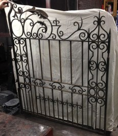 Ornate wrought iron driveway gate pair, each half is w1500 x h1840mm to suit opening width of approx 3075 -3100mm $2250